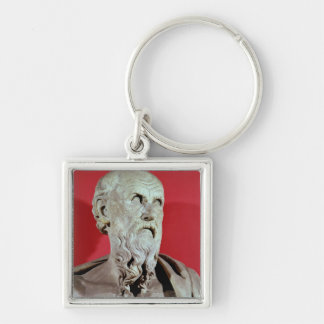 Bust of Hesiod Silver-Colored Square Key Ring