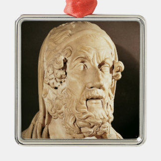 Bust of Homer, Hellenistic period Silver-Colored Square Decoration