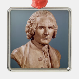 Bust of Jean-Jacques Rousseau Silver-Colored Square Decoration