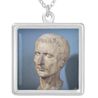 Bust of Julius Caesar Silver Plated Necklace