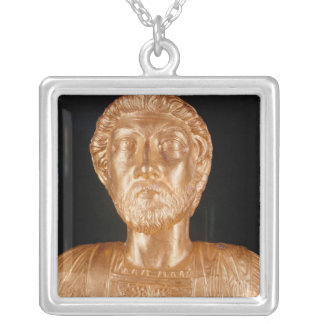 Bust of Marcus Aurelius Silver Plated Necklace