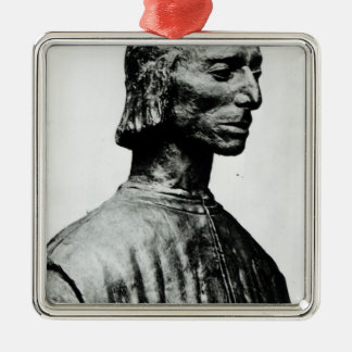 Bust of Niccolo Machiavelli Silver-Colored Square Decoration