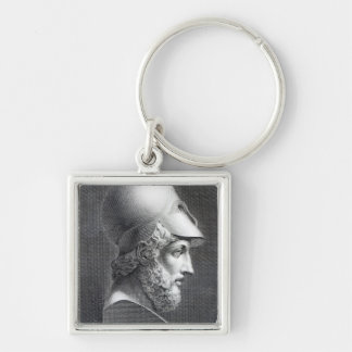 Bust of Pericles, engraved by Giuseppe Cozzi Silver-Colored Square Key Ring