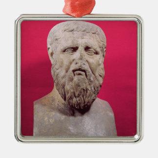 Bust of Plato  copy of a 4th century BC original Silver-Colored Square Decoration