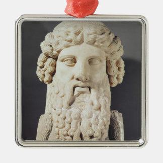 Bust of Plato Silver-Colored Square Decoration