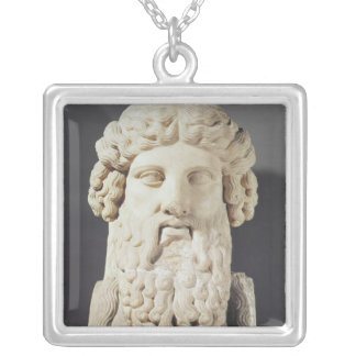 Bust of Plato Silver Plated Necklace