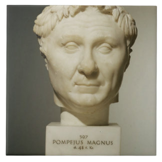 Bust of Pompey (106-48 BC) c.60 BC (marble) Tile
