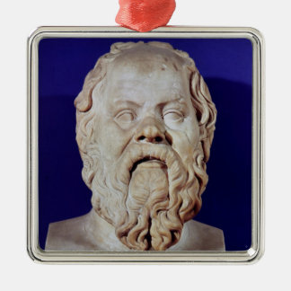 Bust of Socrates Silver-Colored Square Decoration