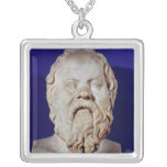 Bust of Socrates Silver Plated Necklace