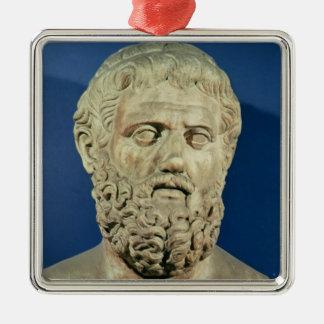Bust of Sophocles Silver-Colored Square Decoration