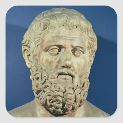 Bust of Sophocles Square Stickers