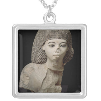 Bust of the Royal Scribe, Meniou, New Kingdom Silver Plated Necklace