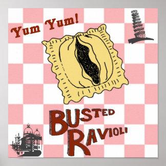 Busted Ravioli Funny Italian Poster