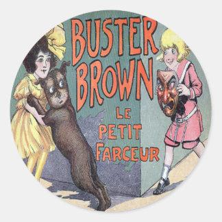 Buster Brown Round Sticker