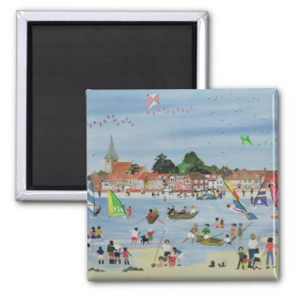 Busy Beach Square Magnet