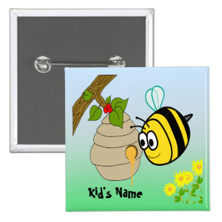 Busy Bee  Cute Kid's Button