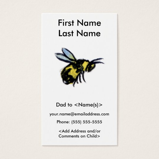 Busy Bee Daddy Custom Photo Calling Playdate Cards