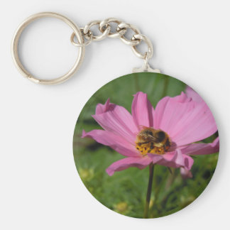 Busy Bee on Pink Cosmo Basic Round Button Key Ring