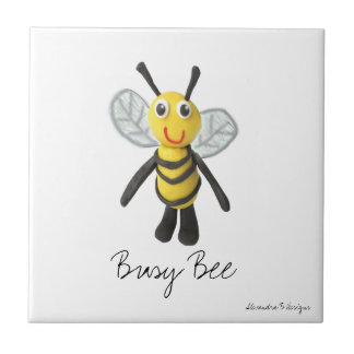 "Busy Bee Small (4.25"" x 4.25"") Ceramic Photo Tile"