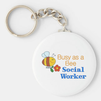 Busy Bee Social Worker Basic Round Button Key Ring