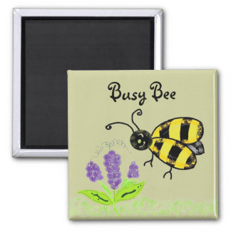Busy Bee Square Magnet