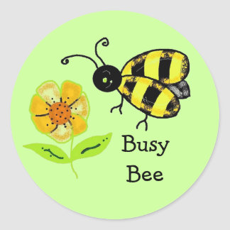 Busy Bee with Yellow Flower Classic Round Sticker