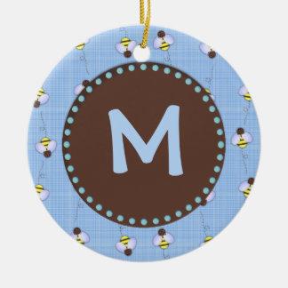 Busy Bees Custom Monogram Ornament