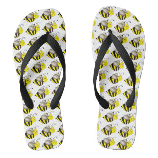 Busy Bumble Bee Bumblebee Yellow Black Bees Print Flip Flops
