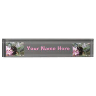 Busy Bumblebee and Pink Flowers Custom Nameplate