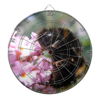 Busy Bumblebee and Pink Flowers Dart Board