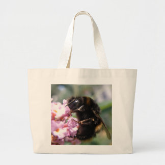 Busy Bumblebee and Pink Flowers Tote Bag
