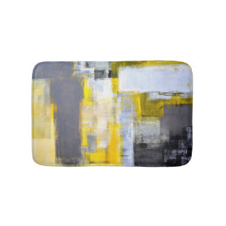 'Busy, Busy' Grey and Yellow Abstract Art Bath Mats