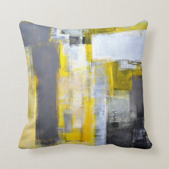 'Busy, Busy' Grey and Yellow Abstract Art Cushion