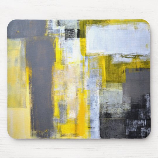 'Busy, Busy' Grey and Yellow Abstract Art Mouse Mat