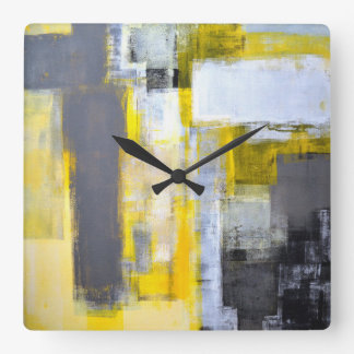 'Busy, Busy' Grey and Yellow Abstract Art Square Wall Clock