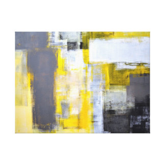 'Busy, Busy' Grey and Yellow Abstract Art Stretched Canvas Print