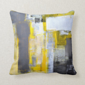'Busy, Busy' Grey and Yellow Abstract Art Throw Pillow