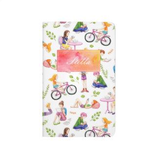 Busy Girls Watercolor Pattern Journal