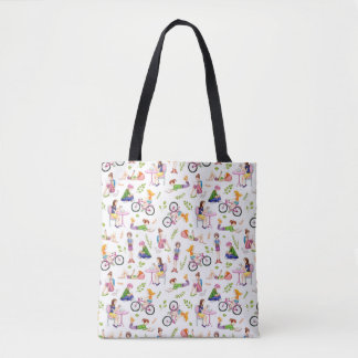 Busy Girls Watercolor Pattern Tote Bag