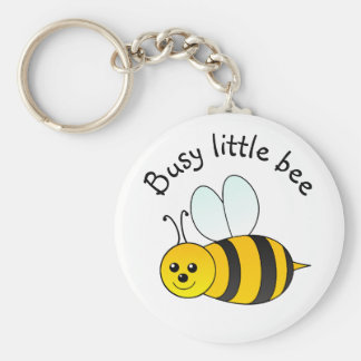 Busy Little Bee Basic Round Button Key Ring