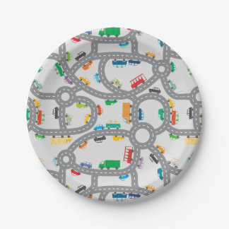 Busy Roads Paper Plate 7 Inch Paper Plate