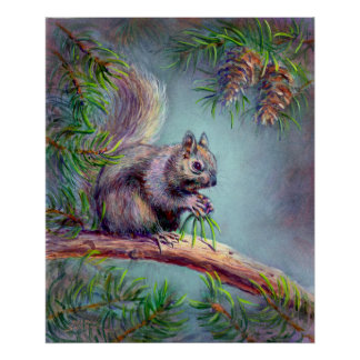 BUSY SQUIRREL by SHARON SHARPE Poster