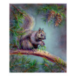 BUSY SQUIRREL by SHARON SHARPE Print