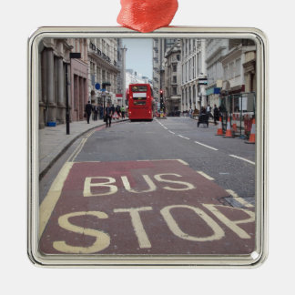 Busy Street  City London England Silver-Colored Square Decoration