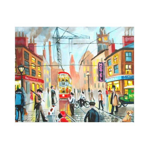 busy street scene nostalgic original oil painting canvas prints