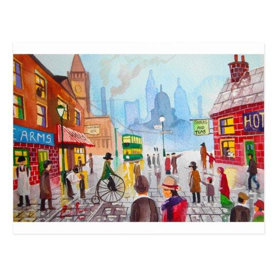 Busy street scene penny farthing tram Gordon Bruce