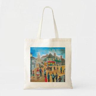 Busy street scene victorian rag and bone man budget tote bag