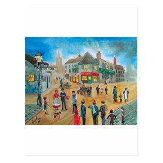Busy street scene victorian rag and bone man postcard