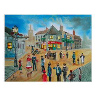 Busy street scene victorian rag and bone man poster