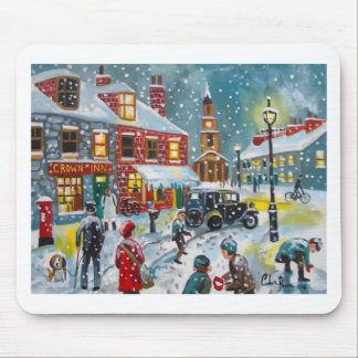 Busy street scene winter snow  Gordon Bruce art Mouse Mat